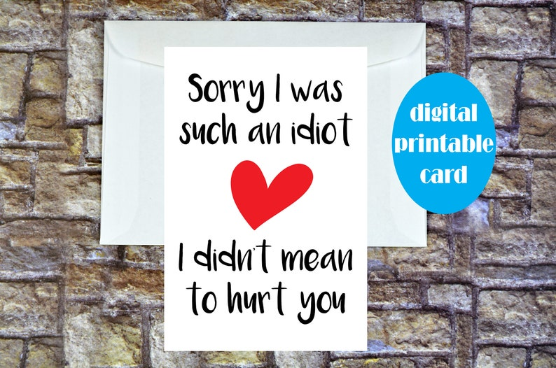 Sorry Card Girlfriend, Sorry Card, Sorry Card Boyfriend, Sorry Husband,  Apology Card, I'm Sorry Card, Sorry Friend Card, Printable