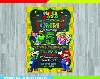 Super Mario Invitation Peach Princess Birthday Party Card