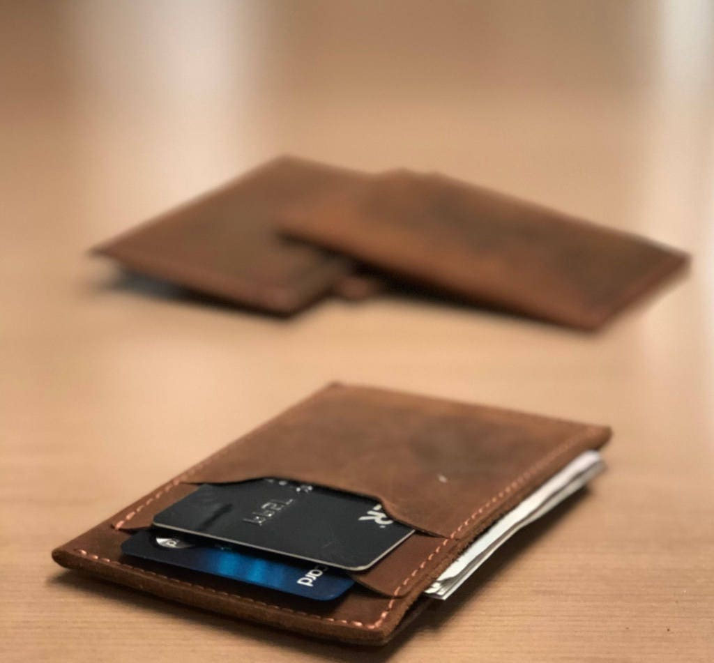 7122fd82d490 MINIMALIST LEATHER WALLET Personalized Slim Front Pocket