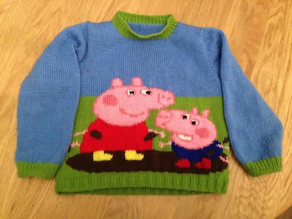 Handgemachte Peppa Pig George Schwein Kinder Pullover Etsy