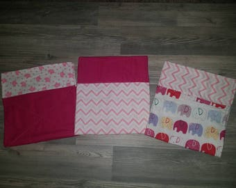 Pretty pink burp cloth set