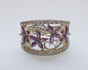 Silver ring barrel flowers and purple Rhinestones, Bohemian spirit