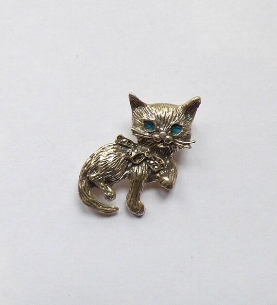 Romantic Cat Brooch In Silver by Etsy