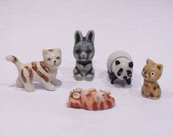 5 animals figurines * cat, Panda, rabbit *.