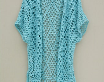 Short Sleeve Open Crochet Cardigan with Fringes