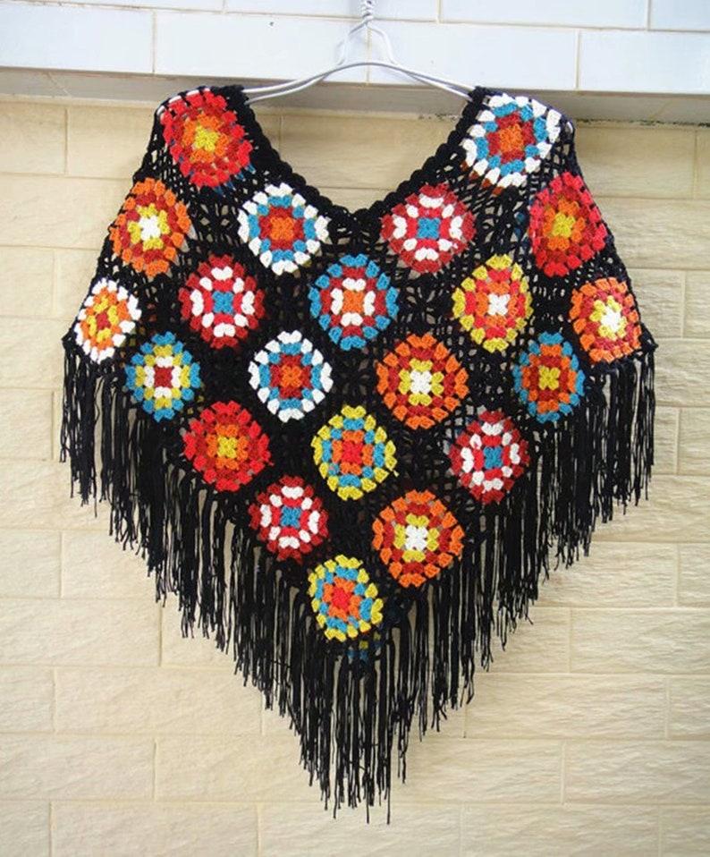 Granny Square Crochet Poncho Shawl Wrap Women Boho Clothing image 0