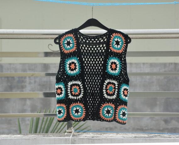 Oma Quadrat häkeln abgeschnitten Pullover Weste schwarze | Etsy