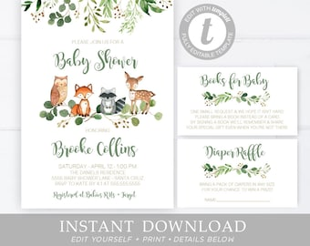 graphic about Etsy Printable Invitations named Woodland invitation Etsy
