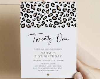 21st Birthday Invitation, Leopard Print, Printable Download Editable Template, Bday Invites for Women, Animal Print, Templett
