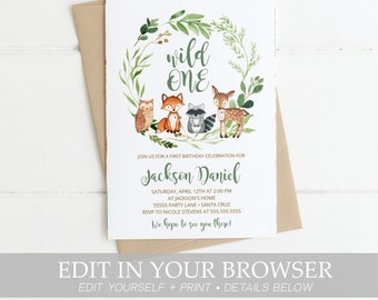 Woodland Birthday Invitation Boy Wild One Invite Template Instant Download First Invites Templett Animals 1st 2nd 3rd ANY