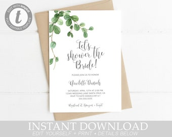 Bridal Shower Invitation Greenery, Simple, Instant Download, Digital Invite, spring, template, lets shower the bride invitations, Printable