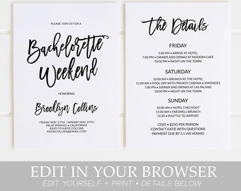 bachelorette party invitation with itinerary instant download template weekend itinerary simple black white invitations templett