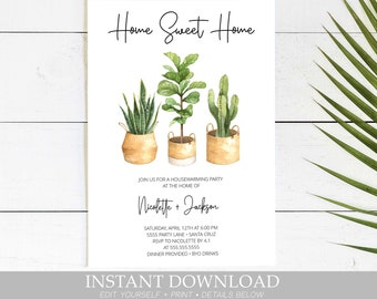 housewarming invitation instant download new home invite house warming party invites plants digital template edit with templett