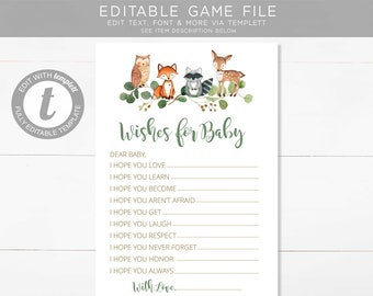 Woodland Wishes for Baby, EDITABLE, Greenery Boy, Gender Neutral, INSTANT DOWNLOAD, templett