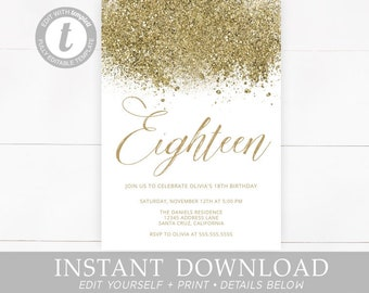 Gold Birthday Invitation 18th Eighteen Eighteenth 21st Invitations Invites Instant Download Editable Glitter Digital