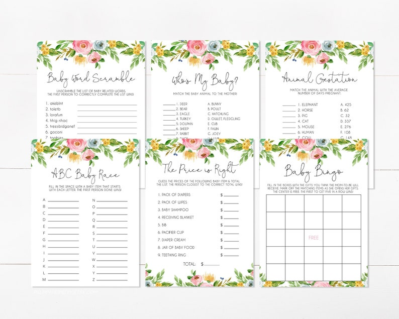 Girl Instant Download Template Editable Price is Right Templett Baby Shower Games Bundle Baby Bingo Wildflower Floral Baby in Bloom