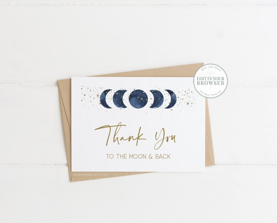 MOON FLOWER Moon Thank You Card; Wedding Thank You Card; Moon Wedding Thank You Card; DIY; Editable; Printable; Instant Download