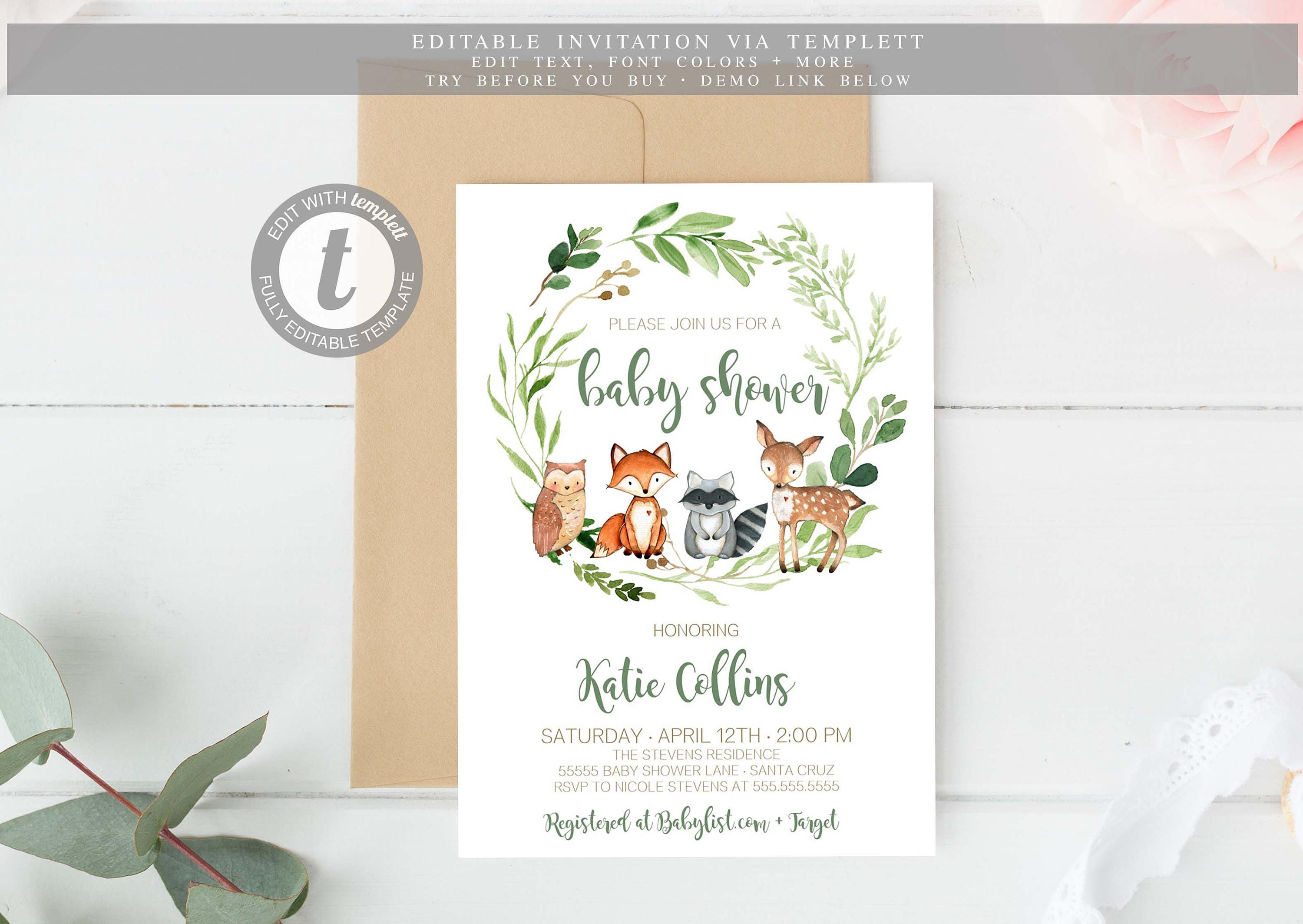Woodland Baby Shower Invitation Boy Gender Neutral Instant Etsy