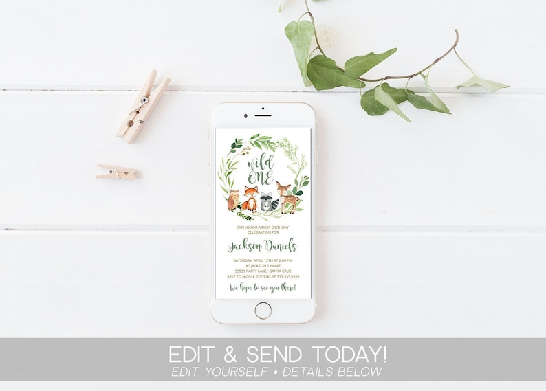 Electronic Invitation Woodland Instant Download Template Birthday Invite Text Message Digital IPhone Invitations Editable Templett SMS