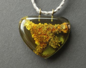 Resin Nature Inspired Necklace, Nature Jewelry, Forest Branch Pendant, Moss Inside, Resin Pendants, Resin Jewelry, Part Of Nature Necklace