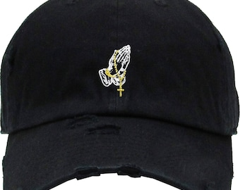1fe57510ea3 Praying Hands Rosary Distress Embroidery Dad Hat