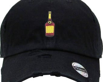 a8d060db Henny Bottle Embroidery Distress Dad Hat