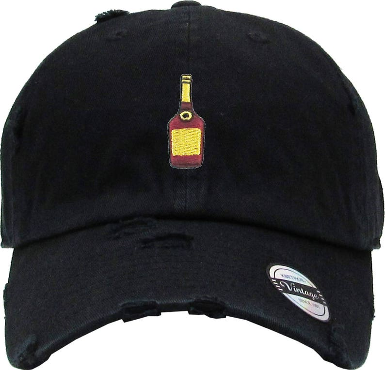 f649a6379df090 Henny Bottle Embroidery Distress Dad Hat