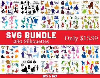 Silhouettes Bundle, Disney Silhouettes Svg Bundle , Silhouette Disney Mickey Minnie svg cut files, svg dxf for Silhouette Cameo and Cricut