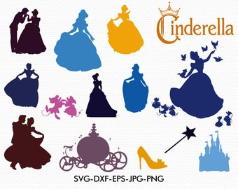Cinderella silhouettes svg, Disney princess Cinderella silhouette clipart EPS png jpg files. Disney svg dxf for Silhouette Cameo or Cricut
