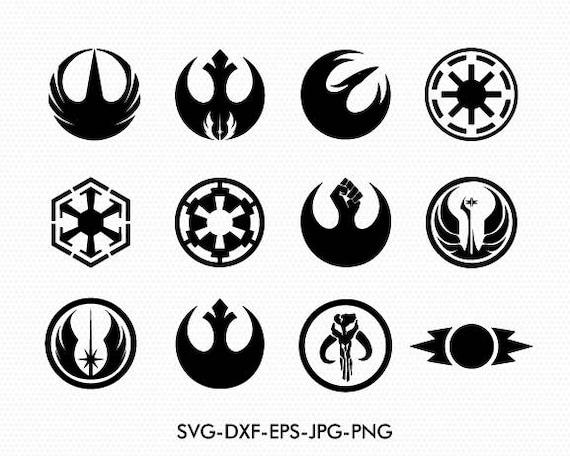 star wars svg logos symbole und logos svg dxf f r silhouette etsy. Black Bedroom Furniture Sets. Home Design Ideas