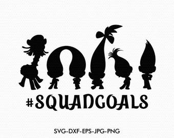 Trolls Squad goals svg, Trolls silhouettes svg, Trolls silhouette clipart EPS png jpg files. Disney svg dxf for Silhouette Cameo or Cricut