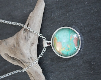 Cabochon necklace Medallion chain necklace globe world Earth necklace