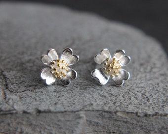Floral Flower Earrings Sterling Silver