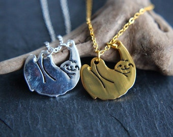 Sloth Necklace gold or silver necklace