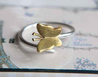 Butterfly from 925 sterling silver-bicolor-ring butterfly Butterfly