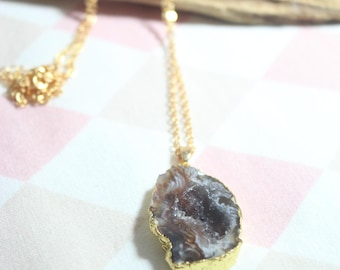 A c h a T necklace chain agate strangles with hole gilded stone No. 33