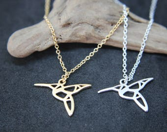 Hummingbird Necklace Chain Gold plated or silver-plated origami