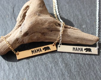 Mama Bear Necklace gold or silver necklace