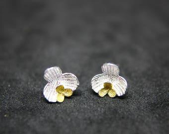 Magnolia Earrings Sterling Silver bicolor