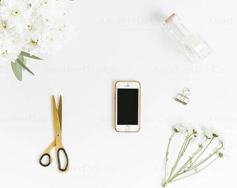Download Free White iPhone Styled Stock Photo - iPhone Mockup, Desk Stock, Gold Desk Accessories, Digital Image, Styled Photography PSD Template