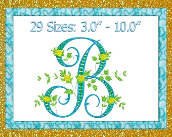 Letter D Embroidery Fancy Vine Monogram Embroidery D Etsy