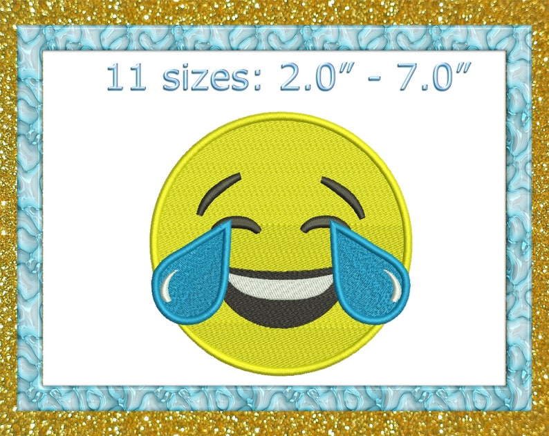 Tears Of Joy Emoji embroidery Laughing Face With Tears Of Joy Emoji  Emoticon Embroidery Design mini Emoji Lol Embroidery tiny Emoji Emoticon