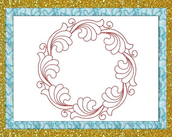 Frame monogram Quilt block square embroidery Design quilting | Etsy