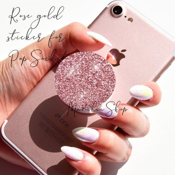 ba389d2b Rose Gold real glitter swappable Sticker for PopSocket | Etsy