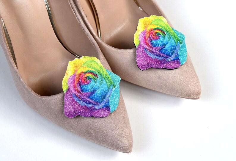 7f61652570554 Rose shoe clips, shoe accessories, glitter shoe clip, leather shoe clips,  rainbow pastel rose