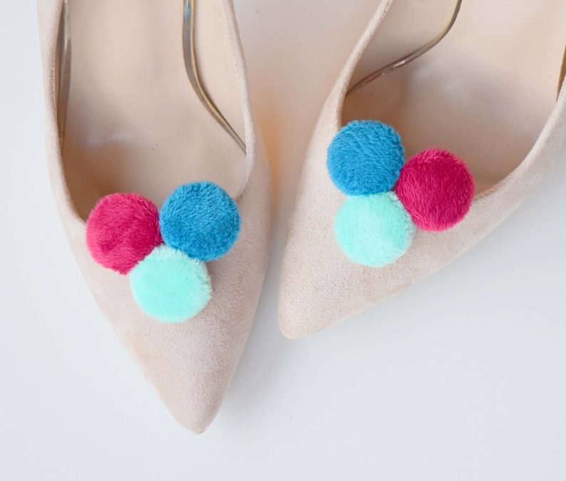 8b9e9248a3075 Pom poms shoe clips shoe accessories wedding shoe faux fur pom pom
