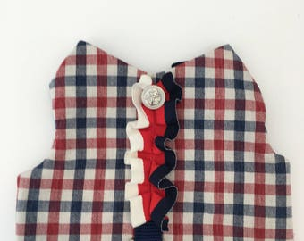 No choke dog harness, French , Anchor button, modern and stylish,gingham check