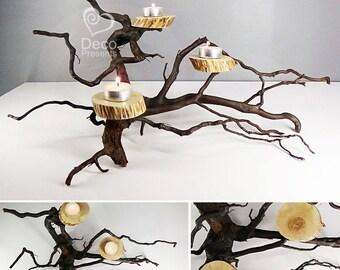 Candlestick made of natural driftwood