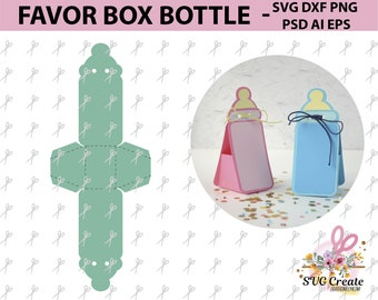 Favor Box Template Bottle Baby Shower Happy Birthday Gift Printable Paper Papercut Papercutting Diy Cut Out Svg