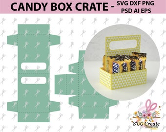 Candy Box Crate Template Favor Paper Cut Papercutting Svg Gift Your Own Plotter Cutting File Scanncut Dxf Ai Eps Png Printable